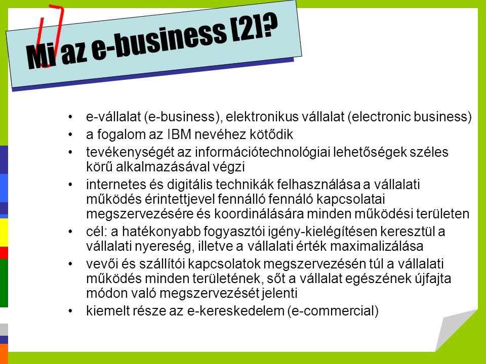 Mi az e-business [2] e-vállalat (e-business), elektronikus vállalat (electronic business) a fogalom az IBM nevéhez kötődik.